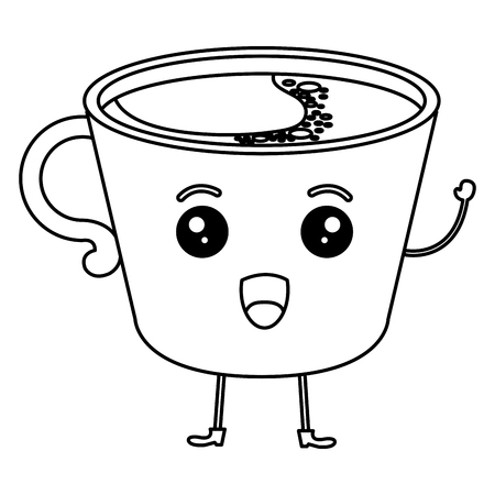 Coffee cup character vector illustration design