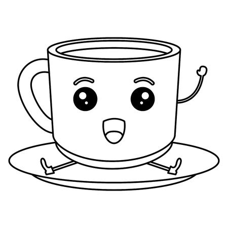 Ontwerp van de het karakter het vectorillustratie van de koffiekop