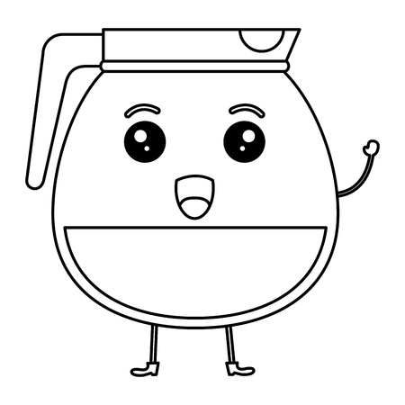Kettle coffee character vector illustration design