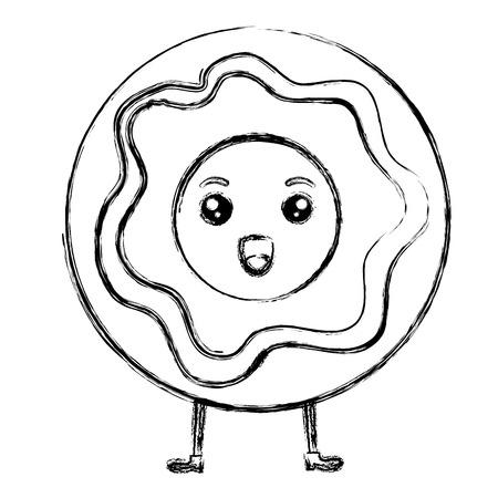달콤한 도넛 카와이 문자 벡터 일러스트 디자인