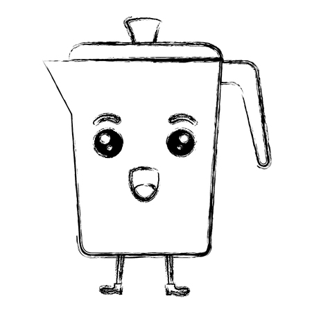 kettle coffee kawaii character vector illustration design