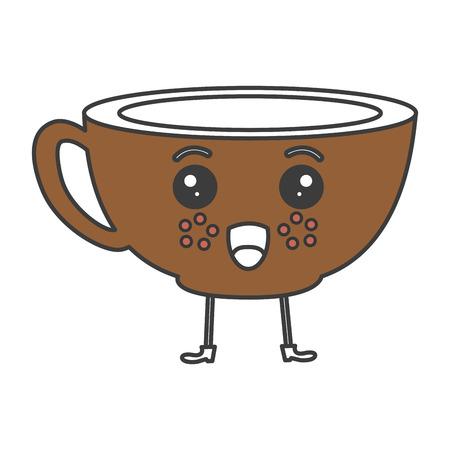 카와이 문자 벡터 일러스트 레이 션 디자인에 갈색 커피 컵.