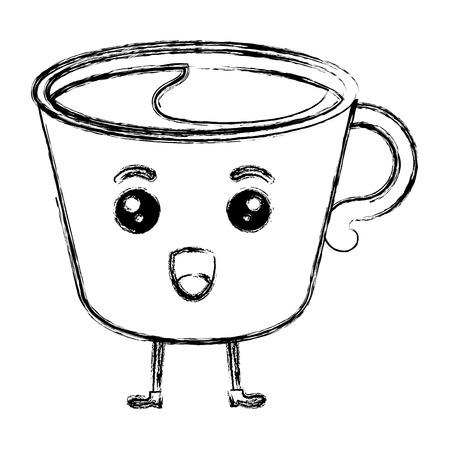카와이 문자 벡터 일러스트 레이 션 디자인에 흰색 커피 잔.