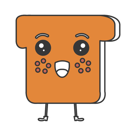 Köstliches kawaii Charaktertoastbrot in der Vektorillustration. Standard-Bild - 83832831