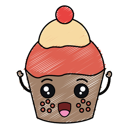 Sweet cupcake kawaii character vector illustration design