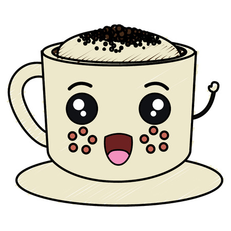Coffee cup kawaii character vector illustration design 向量圖像
