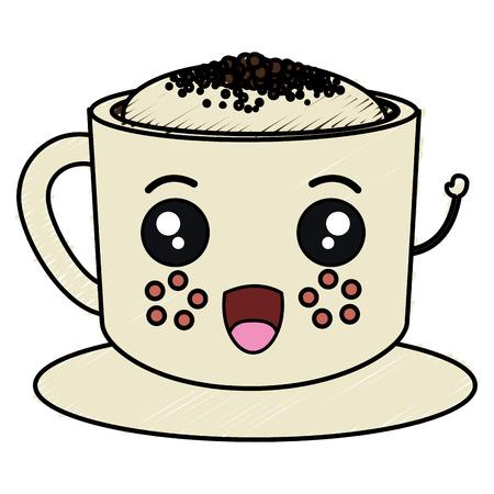 Ontwerp van de het karakter het vectorillustratie van de koffiekop kawaii Stock Illustratie