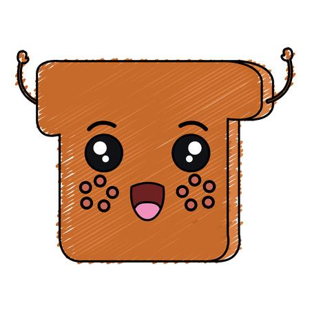 Delicious toast bread in kawaii character vector illustration design.