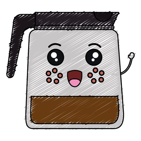 Coffee in  a kettle kawaii character vector illustration design.