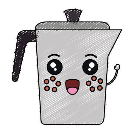 주전자 가와이 캐릭터 벡터 일러스트 디자인 커피 일러스트