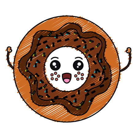 sweet donuts kawaii character vector illustration design