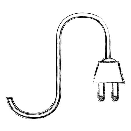 Vector de illustratieontwerp van het energiemacht kabel geïsoleerd pictogram Stock Illustratie