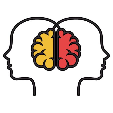 Brainstorming with head profile vector illustration design