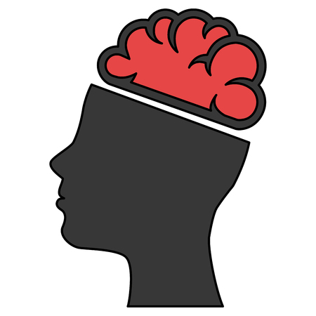 brain storming with head profile vector illustration design Illustration