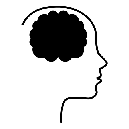 science symbols metaphors: brain storming with head profile vector illustration design Illustration