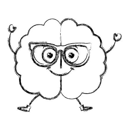 science symbols metaphors: brain storming with glasses kawaii character vector illustration design