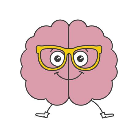 Brain storming con progettazione dell'illustrazione di vettore del carattere di kawaii di vetro