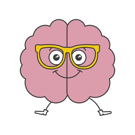Brain storming with glasses kawaii character vector illustration design Illustration