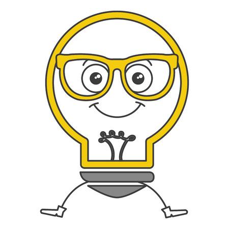 Bulb light with glasses kawaii character vector illustration design Illustration