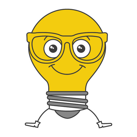 Bulb light with glasses character vector illustration design