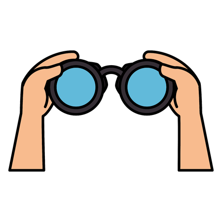 hands human with binoculars device isolated icon vector illustration design