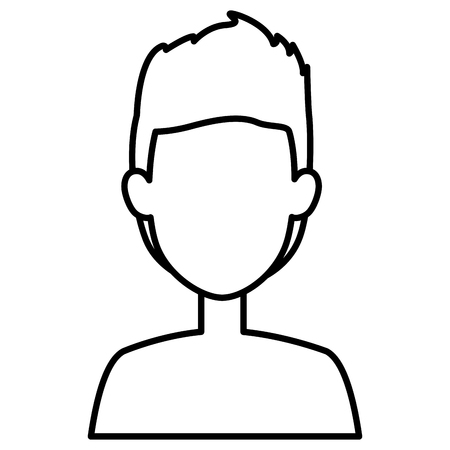 A young man shirtless avatar character vector illustration design.
