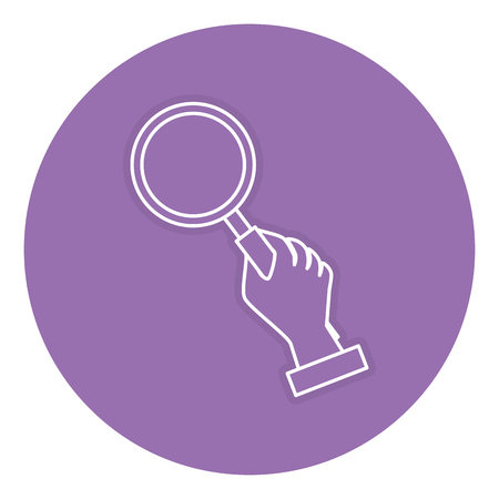 A hand human with magnifying glass isolated icon vector illustration design.