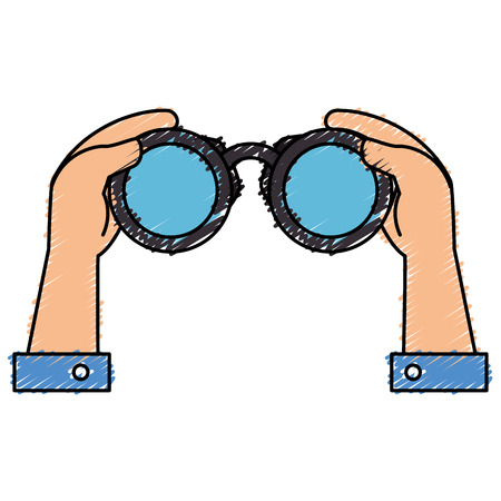 A hands human with binoculars device isolated icon vector illustration design. Ilustracja