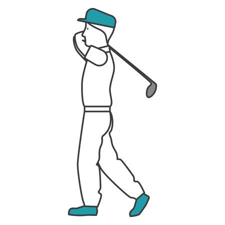 golfer playing avatar character vector illustration design Иллюстрация