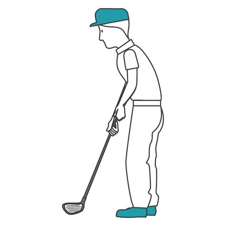 Golfer playing avatar character vector illustration