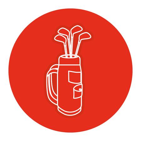 sac de golf avec des clubs illustration vectorielle Vecteurs