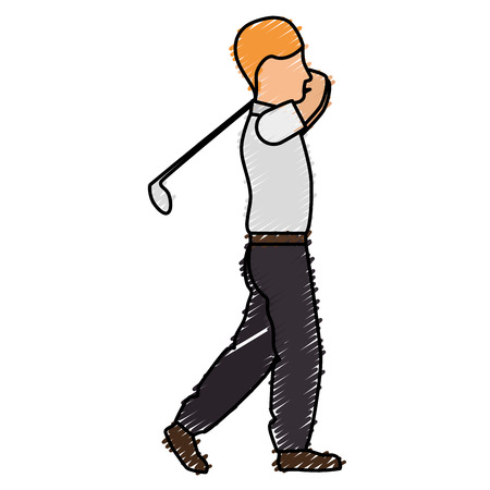A golfer playing avatar character vector illustration design.
