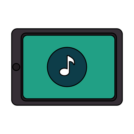 touch screen phone: smartphone device with music note vector illustration design