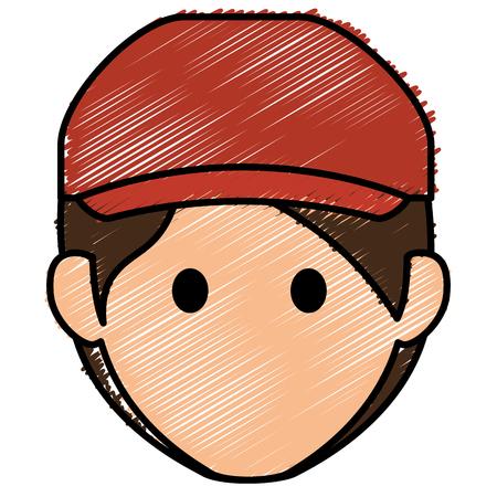 젊은이 머리 아바타 캐릭터 벡터 일러스트 디자인 스톡 콘텐츠 - 83805771