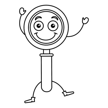search magnifying glass kawaii character vector illustration design