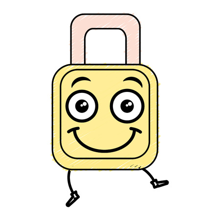 safe secure padlock kawaii character vector illustration design