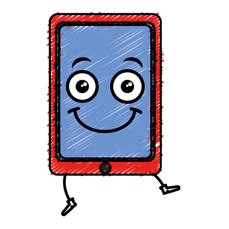 touch screen phone: smartphone device character vector illustration design