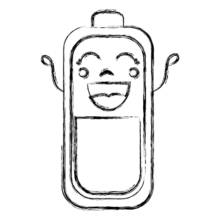 Batterie Ebene Kawaii Charakter Vektor-Illustration Design Standard-Bild - 83796447
