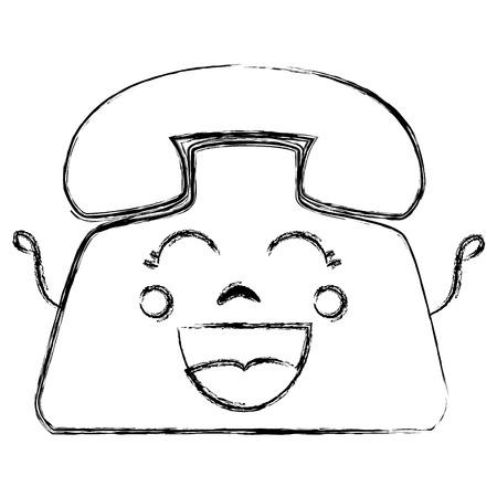 old telephone: telephone service kawaii character vector illustration design