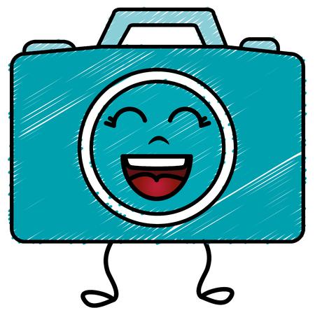 photographic camera kawaii character vector illustration design