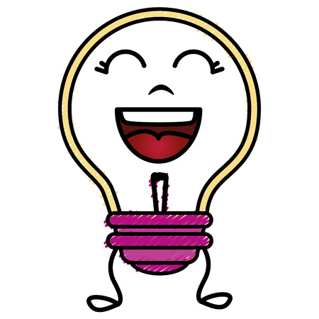 bulb light kawaii character vector illustration design