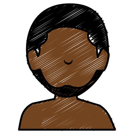black young man shirtless avatar character vector illustration design
