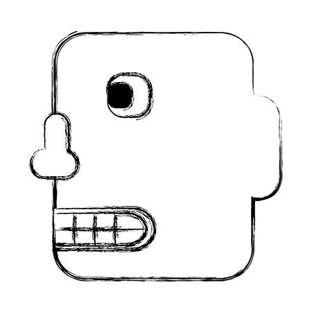 funny robot: head robot isolated icon vector illustration design Illustration