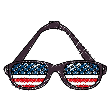 sunglasses with usa flag vector illustration design Ilustrace