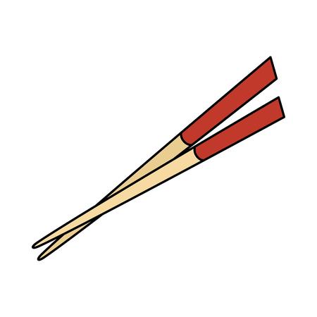 Eetstokjes element geïsoleerd pictogram vector illustratie ontwerp