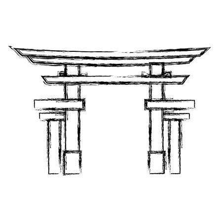 portal japonés aislado icono de ilustración vectorial de diseño