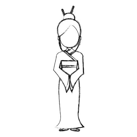 japanese woman avatar character vector illustration design