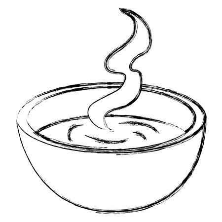 piatto con progettazione dell'illustrazione di vettore dell'icona della zuppa Vettoriali