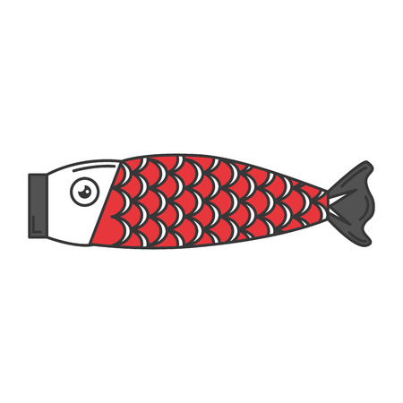 japanese fish wooden icon vector illustration design
