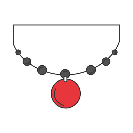 일본 목걸이 격리 아이콘 벡터 일러스트 디자인